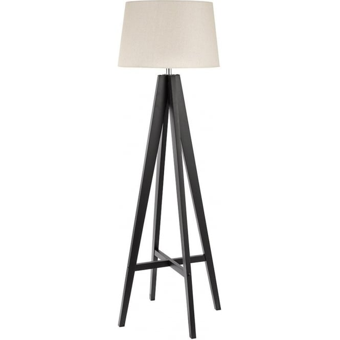 Searchlight 3540BR 1 Light Dark Wood Floor Lamp With Cream Linen Shade And Foot Switch
