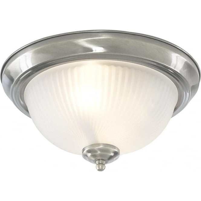 Searchlight 4042 American Diner 2 Light Flush Ceiling Light Satin Silver