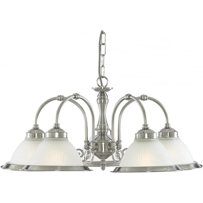 Searchlight 1045-5 American Diner 5 Light Ceiling Light Satin Silver
