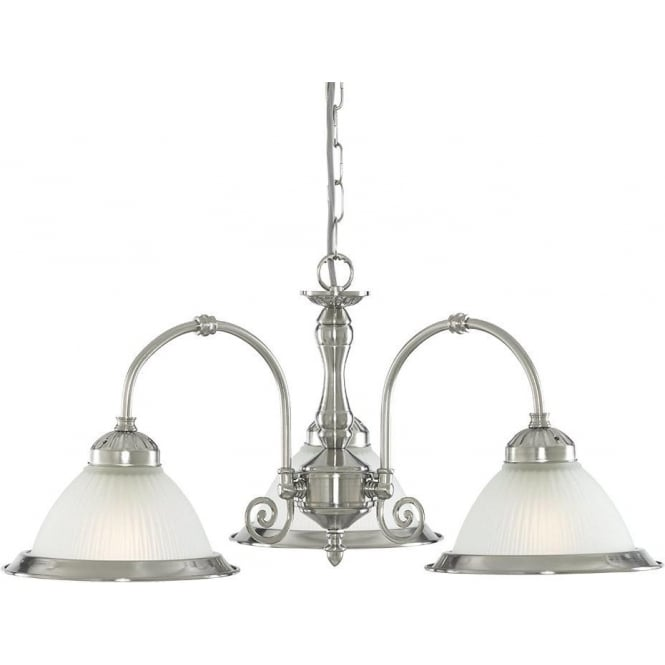 Searchlight 1043-3 American Diner 3 Light Ceiling Light Satin Silver