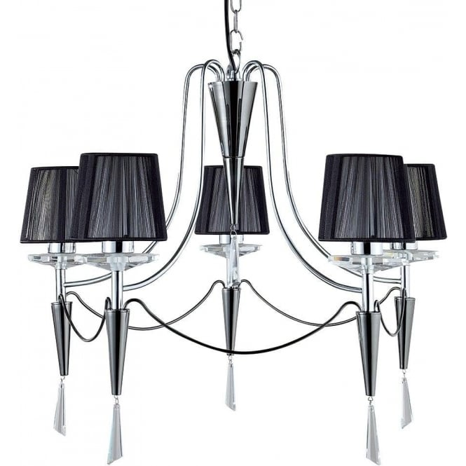 Searchlight 2085-5CC Duchess 5 Light Ceiling Light Polished/Black Chrome