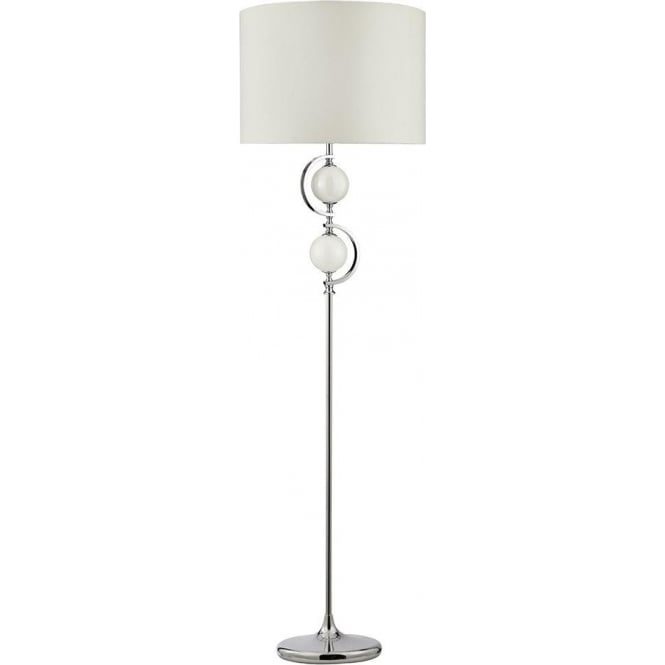 Searchlight 2965WH 1 Light Floor Lamp Chrome With Cream Glass Balls