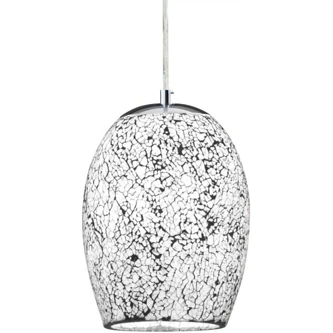 Searchlight 8069wh crackle 1 light polished chrome ceiling pendant 8069wh crackle 1 light ceiling pendant white polished chrome aloadofball Image collections