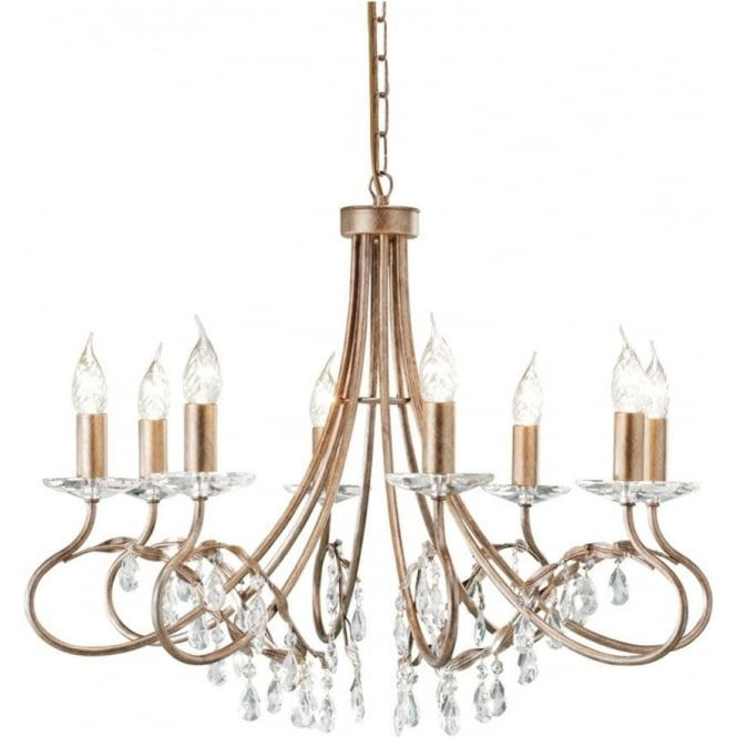 Elstead CRT8 Christina 8 Light Chandelier Silver/Gold