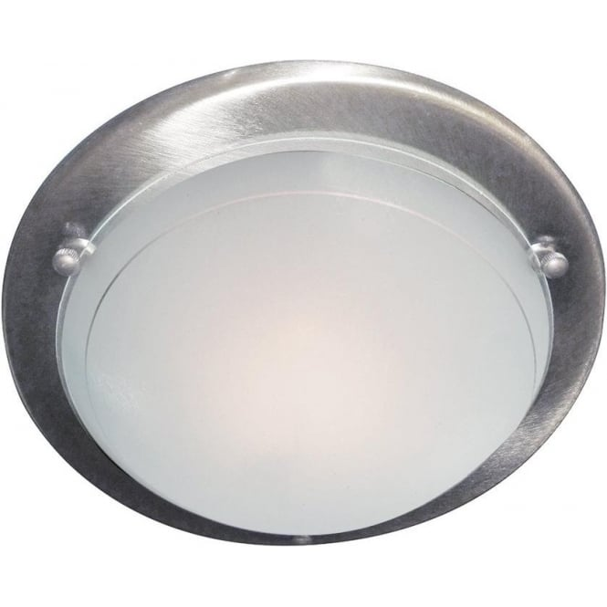 Searchlight 702SS Jupiter 1 Light Flush Ceiling Light Satin Silver