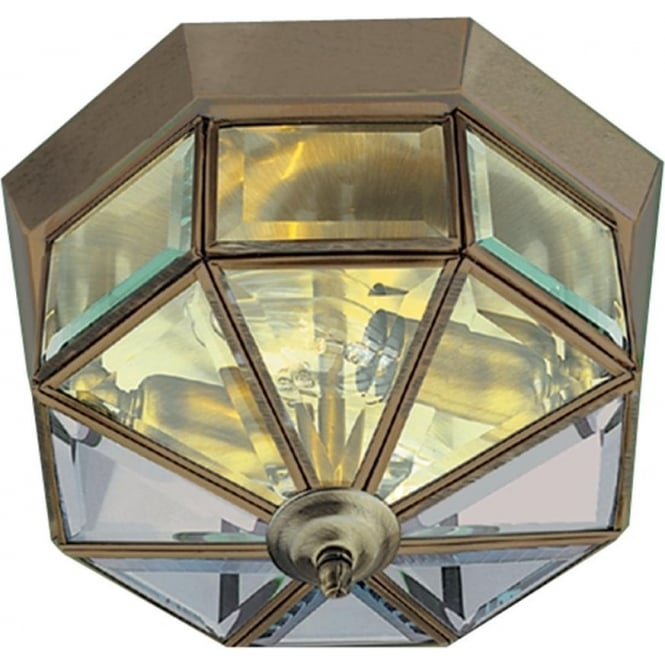 Searchlight 8235AB Flush 2 Light Flush Ceiling Light Antique Brass