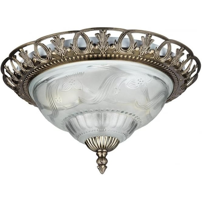 Searchlight 7045-13 Flush 2 Light Flush Ceiling Light Antique Brass