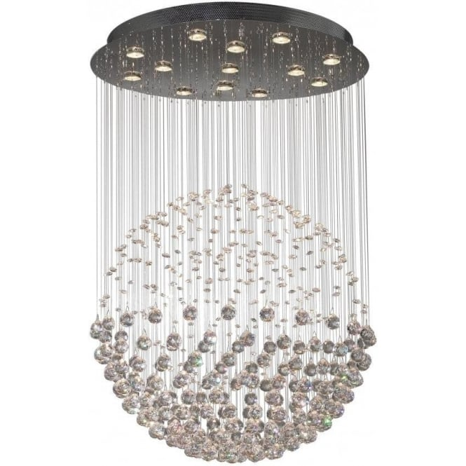 Exc1750 Excelsior 13 Light Modern Ceiling Pendant Crystal And Polished Chrome Finish