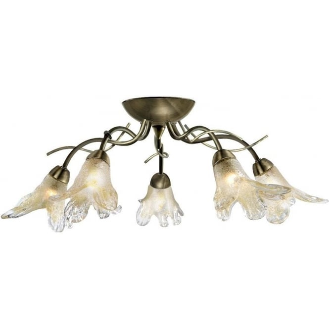 Searchlight 5495-5AB Lily 5 Light Traditional Flush Ceiling Light Antique Brass Finish