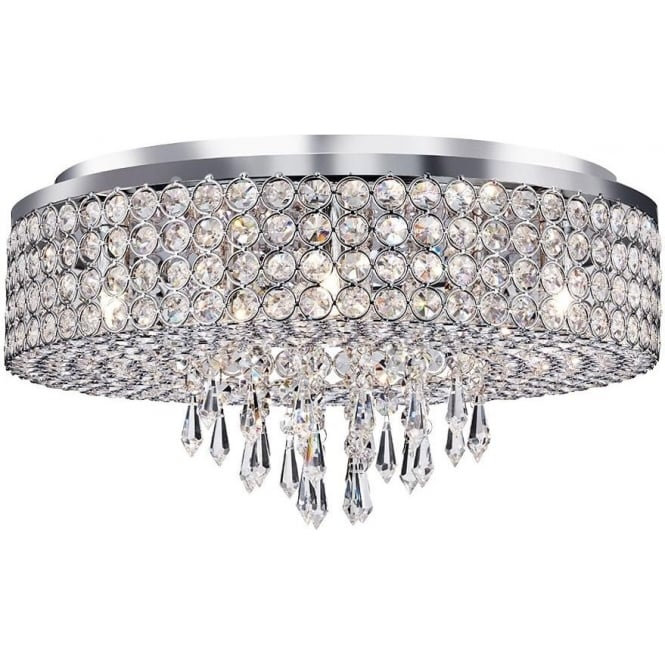 Searchlight 4139-9CC Orion 9 Light Crystal Ceiling Light Polished Chrome