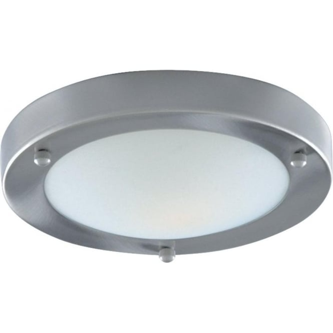 Searchlight 1131-31SS Bathroom Lights 1 Light Flush Ceiling Light Satin Silver