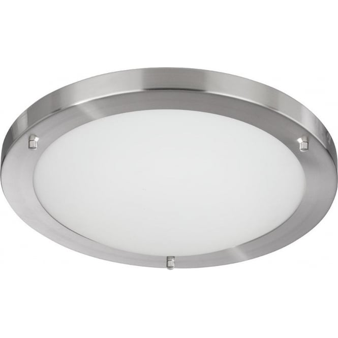 10633SS Bathroom Lights 1 Light Flush Ceiling Light Satin Silver