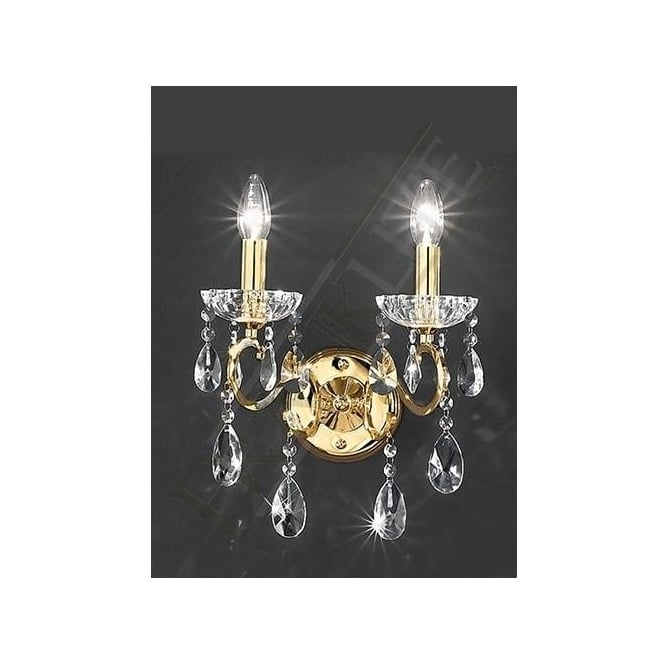 Franklite FL2159/2 Chiffon 2 Light Crystal Wall Light Gold