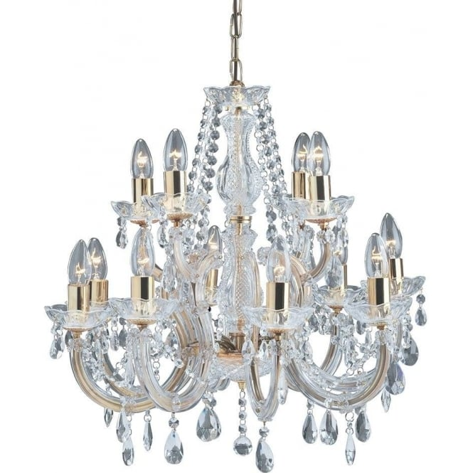 Searchlight 699-12 Marie Therese 12 Light Crystal Chandelier Polished Brass