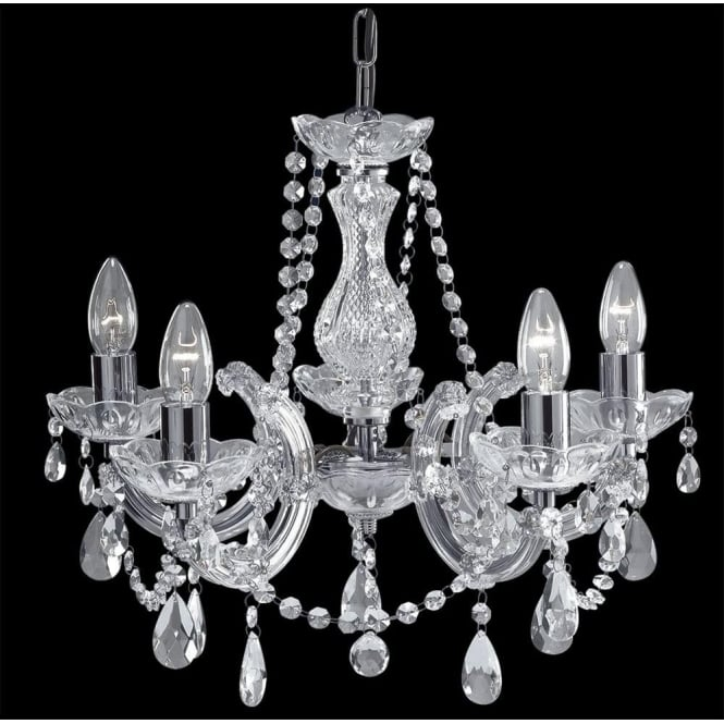 Searchlight 399-5 Marie Therese 5 Light Chandelier Polished Chrome