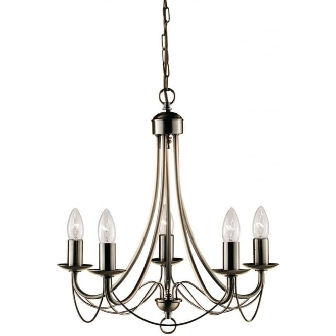 Searchlight 6345-5AB Maypole 5 Light Ceiling Light Antique Brass
