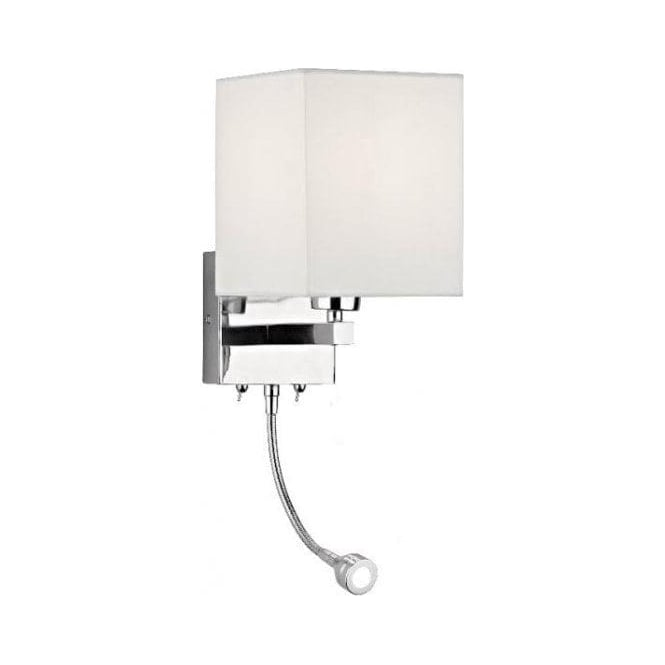 Contemporary Reading Wall Lights : Dar TAT0950 Tatton 2 Light Modern Wall Light LED Flexi Head Reading Light Polished Chrome Finish ...