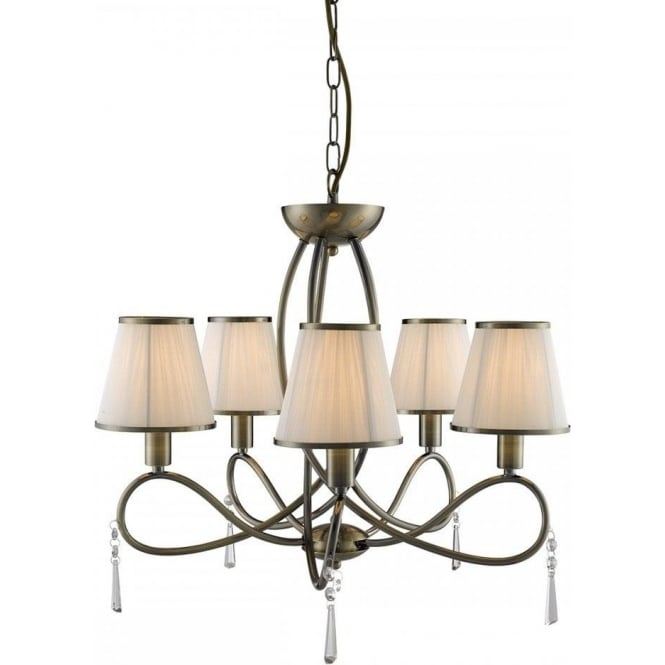 Searchlight 1035-5AB Simplicity 5 Light Ceiling Light Antique Brass