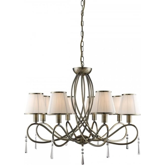 Searchlight 1038-8AB Simplicity 8 Light Ceiling Light Antique Brass
