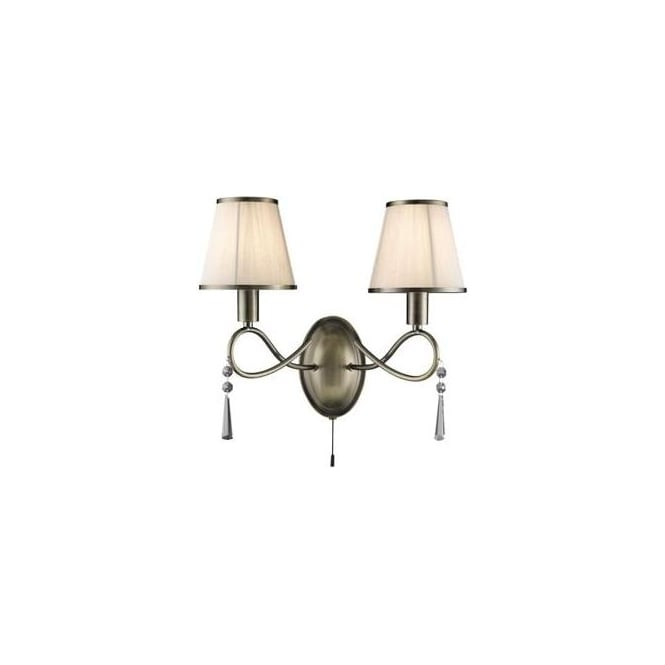Searchlight 2032-2AB Simplicity 2 Light Switched Wall Light Antique Brass