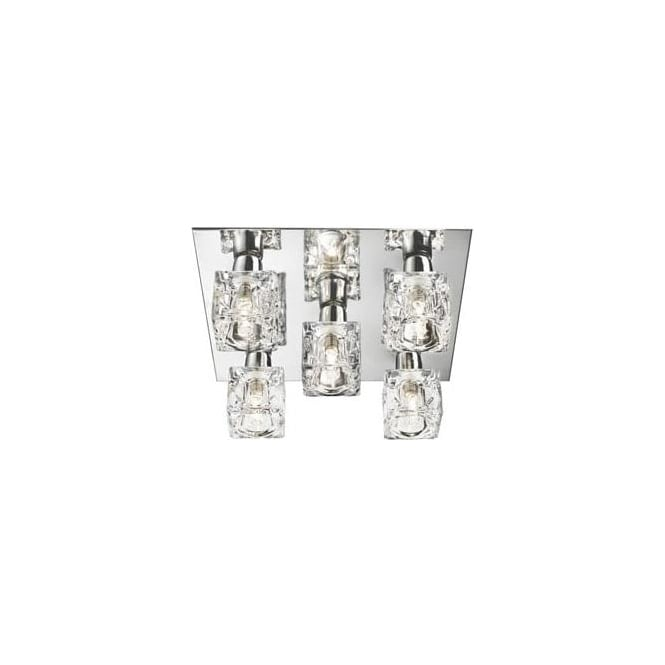 Searchlight 2275-5 Ice Cube 5 Light Flush Ceiling Light Polished Chrome