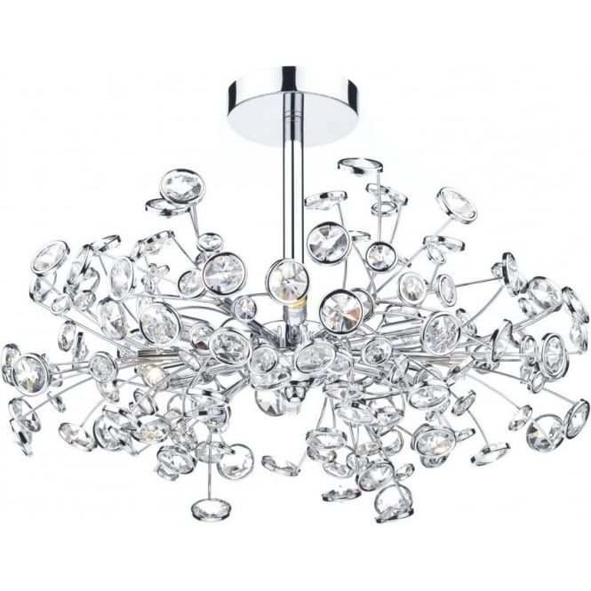 Dar OBE0650 Oberoi 6 Light Semi Flush Ceiling Light Polished Chrome