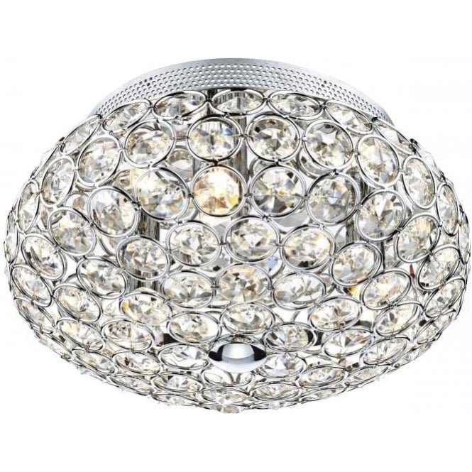 Dar FRO5350 Frost 3 Light Crystal Ceiling Light Polished Chrome