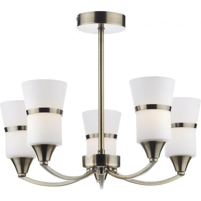 Dar DUB0575/LED Dublin 5 Light Ceiling Light Antique Brass