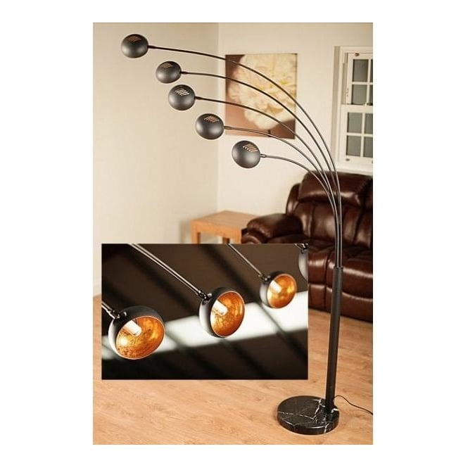 Annaghmore 06824 Aruba 5 Light Floor Lamp Black/Gold