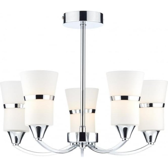 Dar DUB0550/LED Dublin 5 Light Ceiling Light Polished Chrome