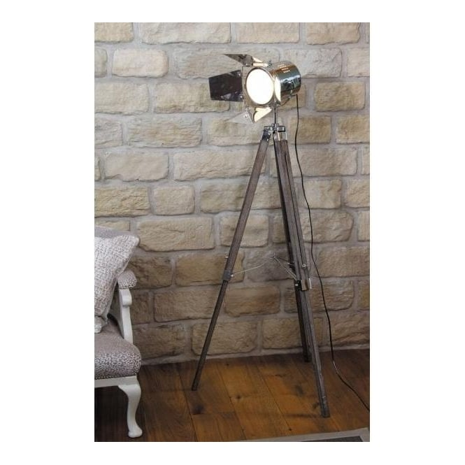 Pacific Lifestyle 32-012-C Hereford Tripod Film Floor Lamp Wood/Metal