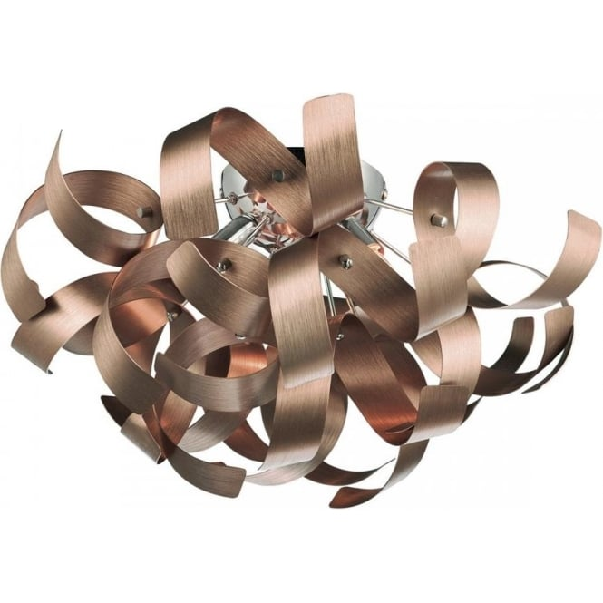 Raw0464 rawley satin copper ceiling light dar 4 light ceiling raw0464 rawley 4 light flush ceiling light brushed satin copper aloadofball Gallery