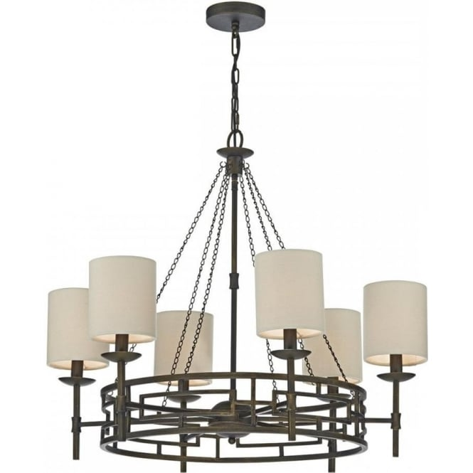 Dar TOD0663 Todd 6 Light Ceiling Light Bronze