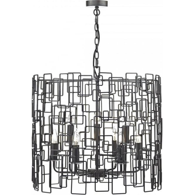 Dar OXO1322 Oxo 9 Light Ceiling Light Matt Black