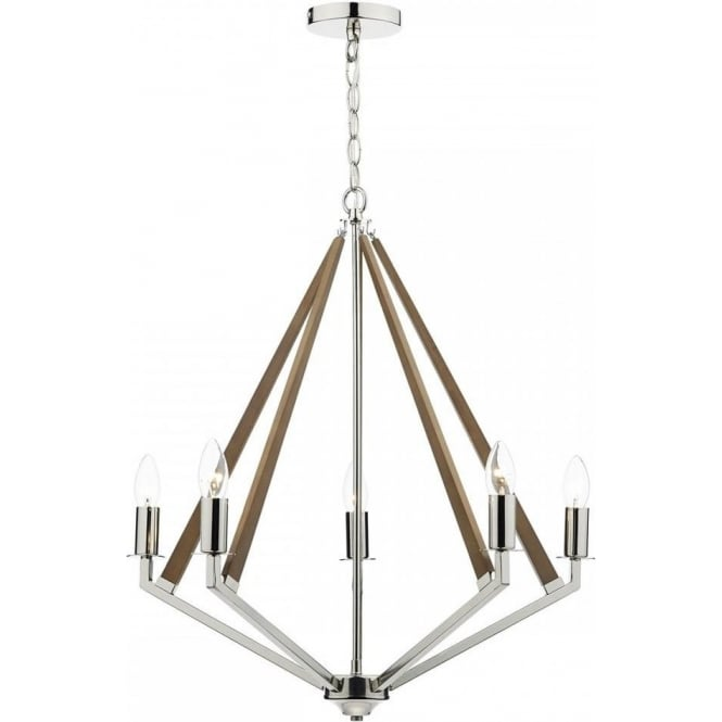 Dar hotel hot0538 5 light ceiling light in polished nickel and wood hot0538 hotel 5 light ceiling light polished nickel aloadofball Choice Image