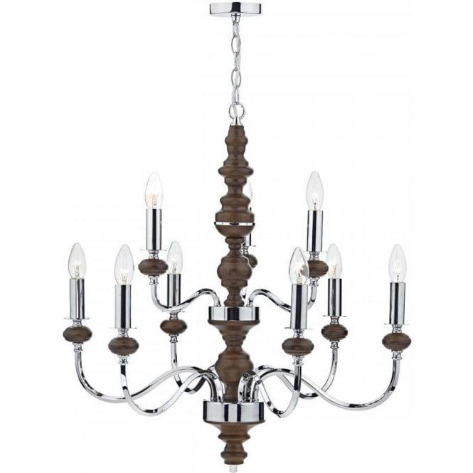 Dar WYA1347 Wyatt 9 Light Ceiling Light Polished Chrome/Dark Wood