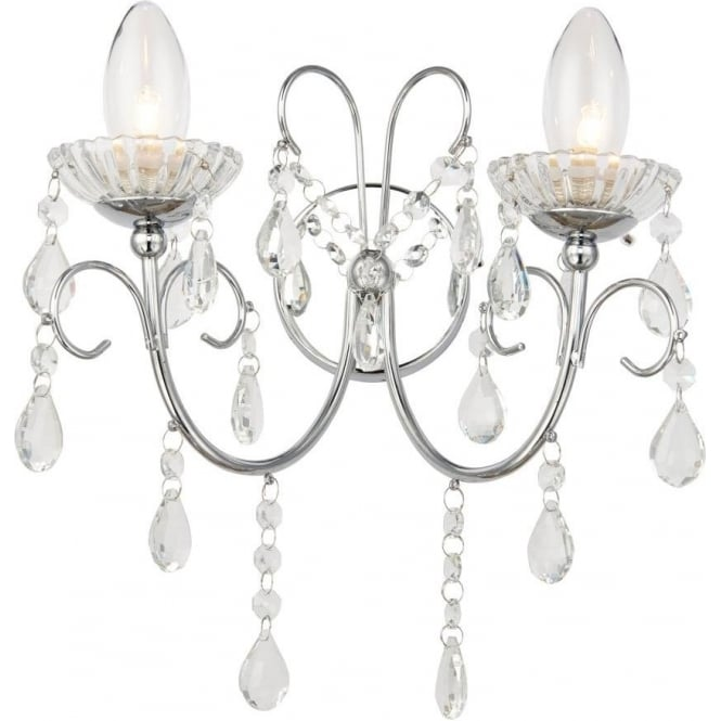 Endon 61385 Tabitha 2 Light Wall Light IP44 Polished Chrome