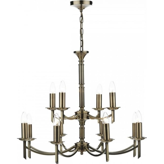 Dar AMB1275 Ambassador 12 Light Ceiling Light Antique Brass