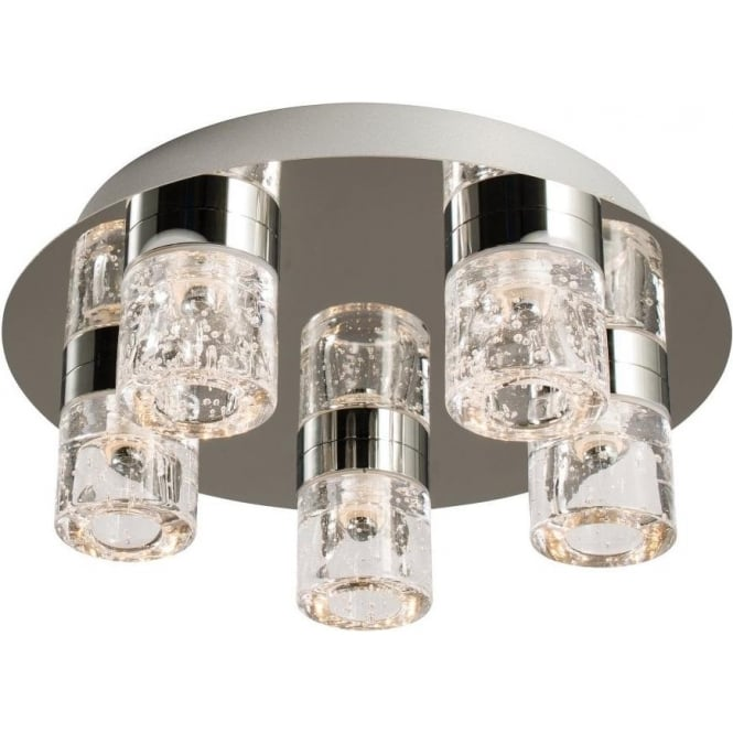 Endon 61358 Imperial 5 Light LED Flush Ceilling Light IP44 Polished Chrome