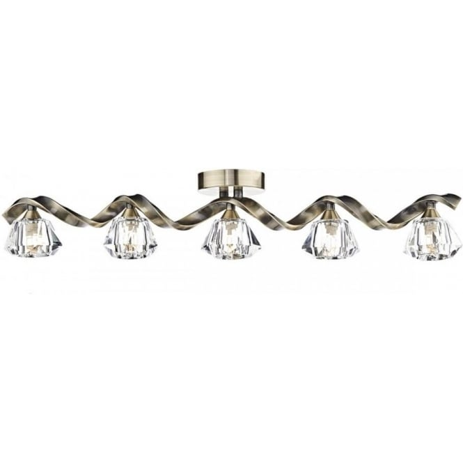 Dar ANC0575 Ancona 5 Light Semi-Flush Ceiling Bar Antique Brass