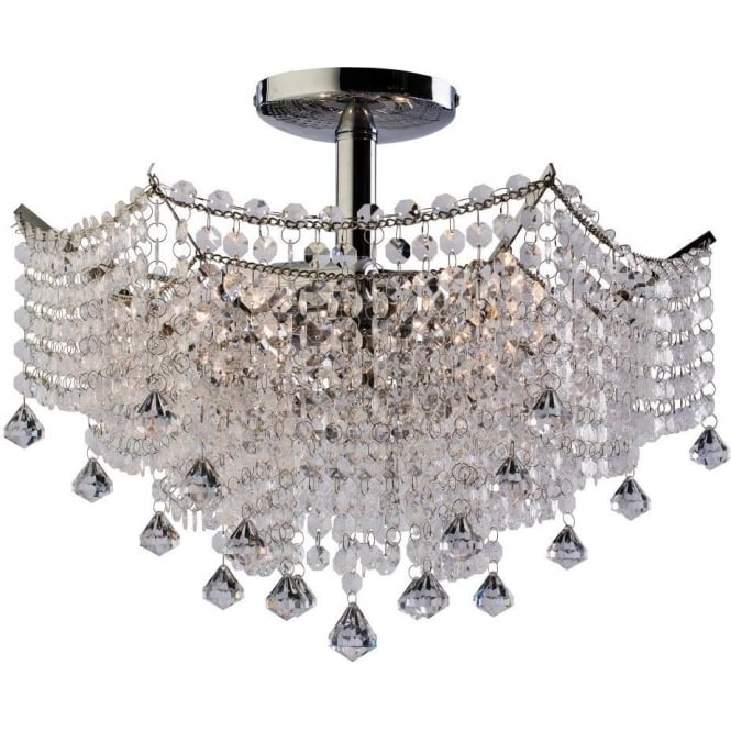 Endon 61126 Fitzgerald 3 Light Semi Flush Ceiling Polished Chrome