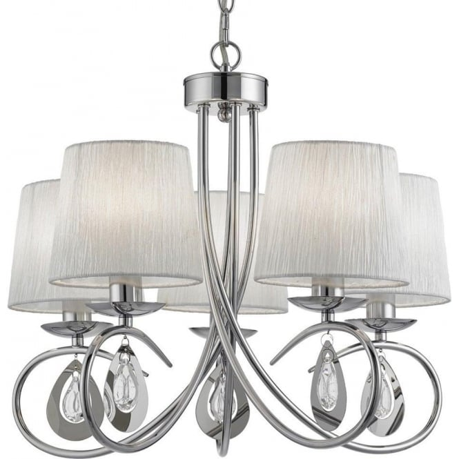Searchlight 1025-5CC Angelique 5 Light Ceiling Light Polished Chrome