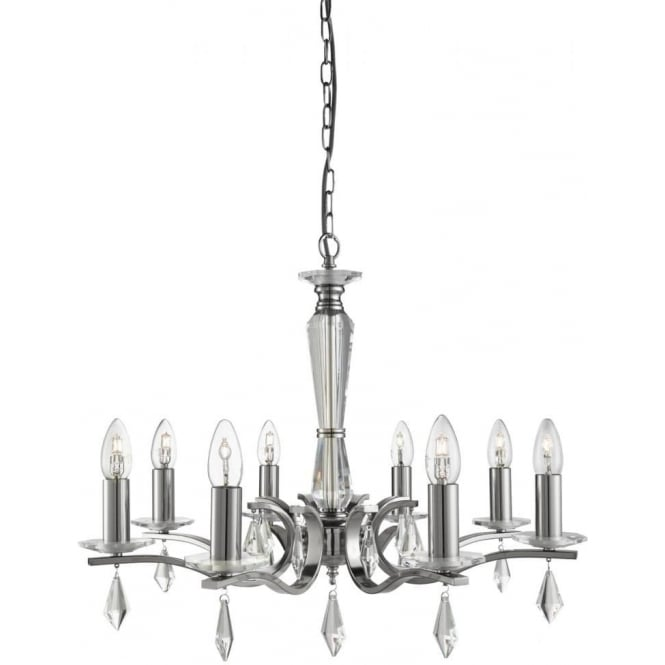 Searchlight 3908-8SS Royale 8 Light Ceiling Light Satin Silver