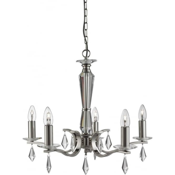Searchlight 3905-5SS Royale 5 Light Ceiling Light Satin Silver