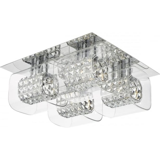 Dar KAB5050 Kabuki 4 Light Crystal Flush Ceiling Light Polished Chrome