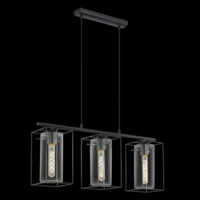 Eglo 49496 Loncino 3 Light Ceiling Pendant Black