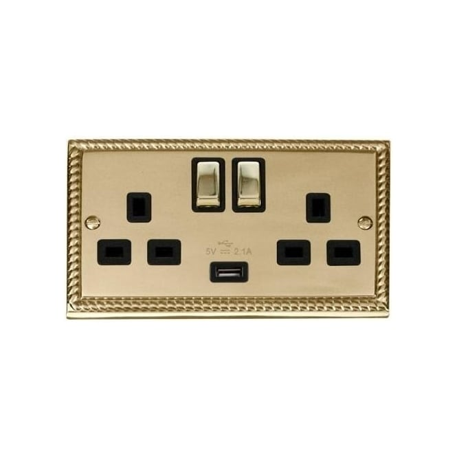 Click Deco Georgian Cast Brass GCBR570 2 Gang 13A Ingot Switched Double Socket USB Outlet