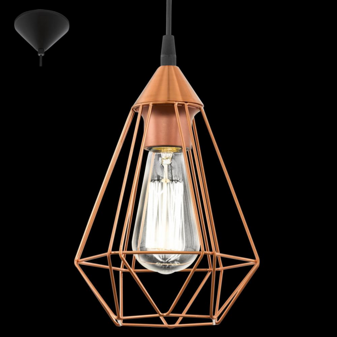 eglo 94193 tarbes 1 light ceiling pendant copper. Black Bedroom Furniture Sets. Home Design Ideas