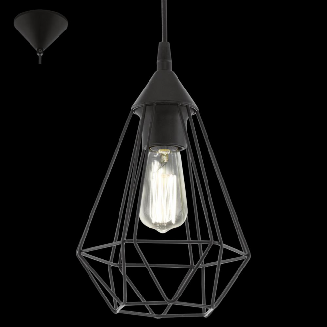 Eglo 94187 Tarbes 1 Light Ceiling Pendant Black