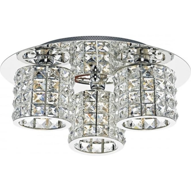 Dar AGN5350 Agneta 3 Light Semi-Flush Ceiling Light Polished Chrome
